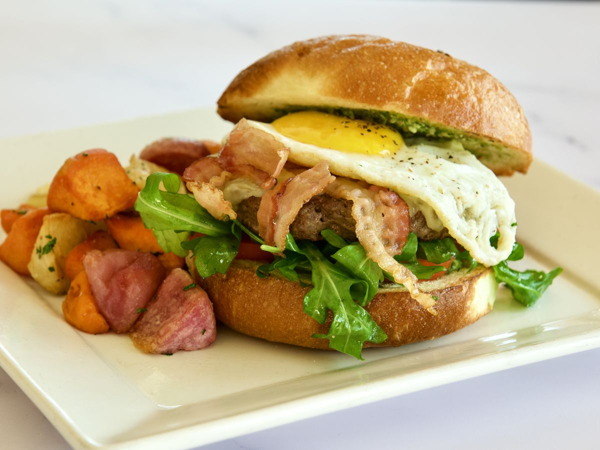 Bison burger at Siena Italian Authentic Trattoria & Deli