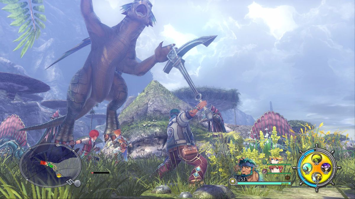 This screenshot from Ys 8: Lacrimosa of Dana shows playable characters Adol, Sahad and Laxia facing off against a massive, dragon-esque creature. They appear to be in a jungle island setting.