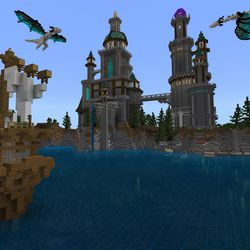 """The """"Crystal Palace"""" world in the <em>Minecraft</em> with RTX beta — ray tracing disabled"""