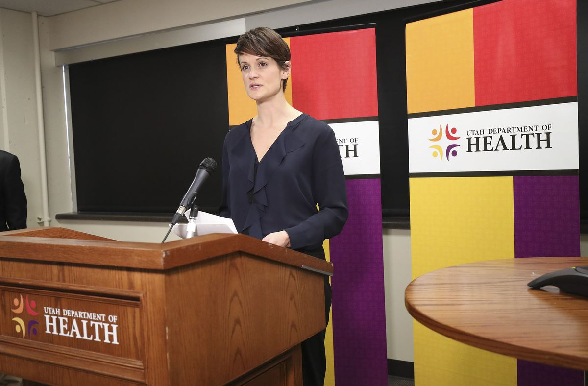 State epidemiologist Dr. Angela Dunn speaks at the Utah Department of Health during a press conference in Salt Lake City on Sunday, March 22, 2020, as officials announce the state's first COVID-19-related death.