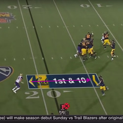 O'Brien ends up between a WR running a curl and the running back leaking into the flat (this area of the field can be called the curl-flat area). He reads the checkdown throw by Cal's Davis Webb.