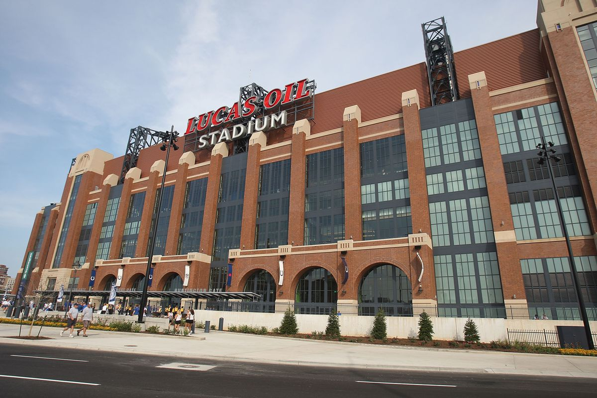 A general view of the exterior of Lucas Oil Stadium