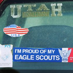 An Eagle Scout sticker is displayed on a car at the Boy Scouts of America Great Salt Lake Council building in Salt Lake City on Thursday, May 11, 2017. The Church of Jesus Christ of Latter-day Saints announced significant changes to the activity program for young men ages 14-18.