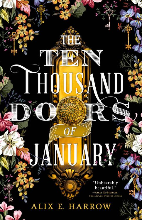 The Ten Thousand Doors of January cover black and rimmed with flowers