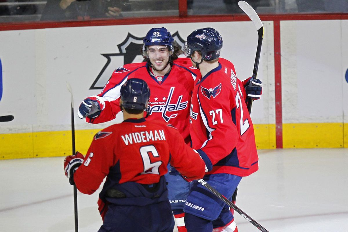 March 31, 2012; Washington, DC, USA; Washington Capitals center Mathieu Perreault (85) celebrates with teammates after scoring a goal against the Montreal Canadiens in the first period at Verizon Center. Mandatory Credit: Geoff Burke-US PRESSWIRE