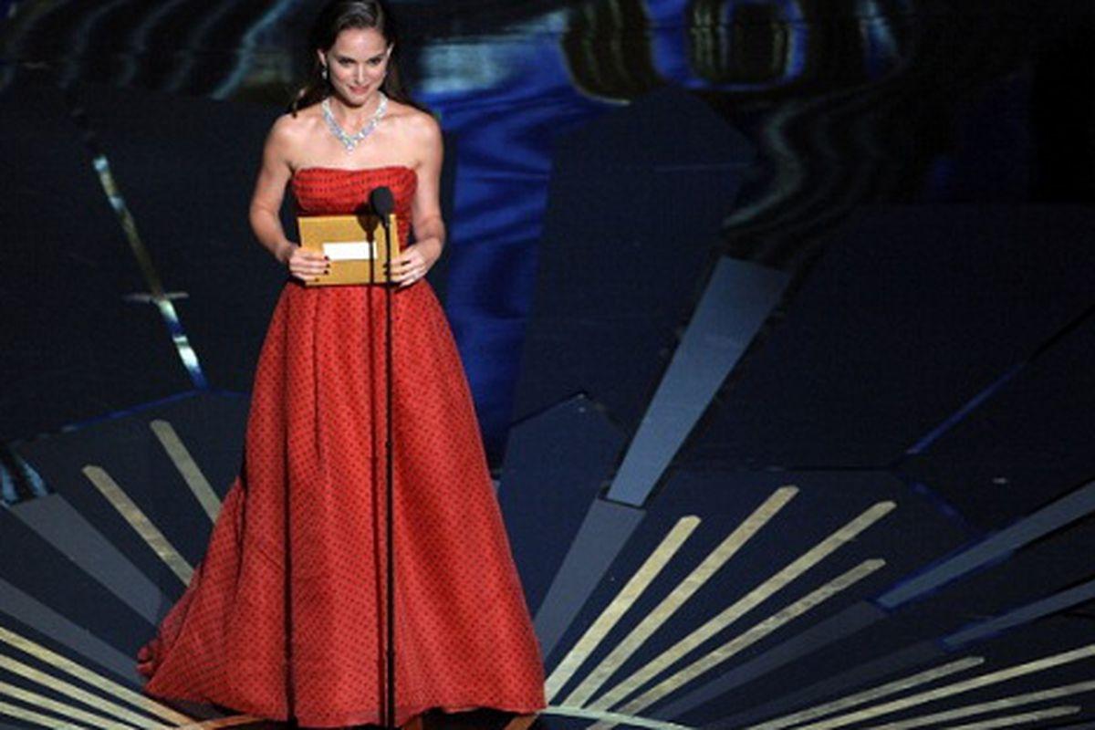 Natalie Portman in vintage Dior at the 2012 Oscars, via Getty