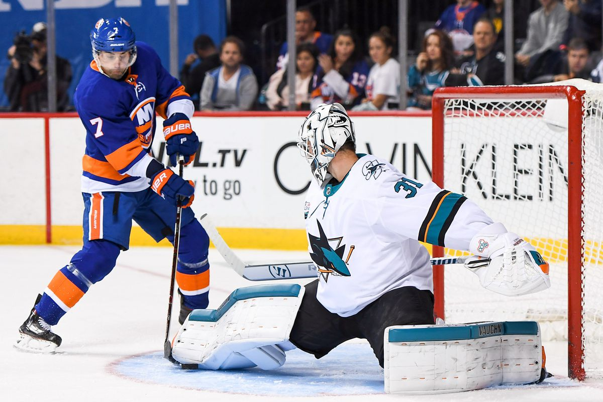 Oct 8, 2018; Brooklyn, NY, USA; San Jose Sharks goaltender Martin Jones (31) makes a pad save on the rebound of New York Islanders center Jordan Eberle (7) during the second period at Barclays Center.