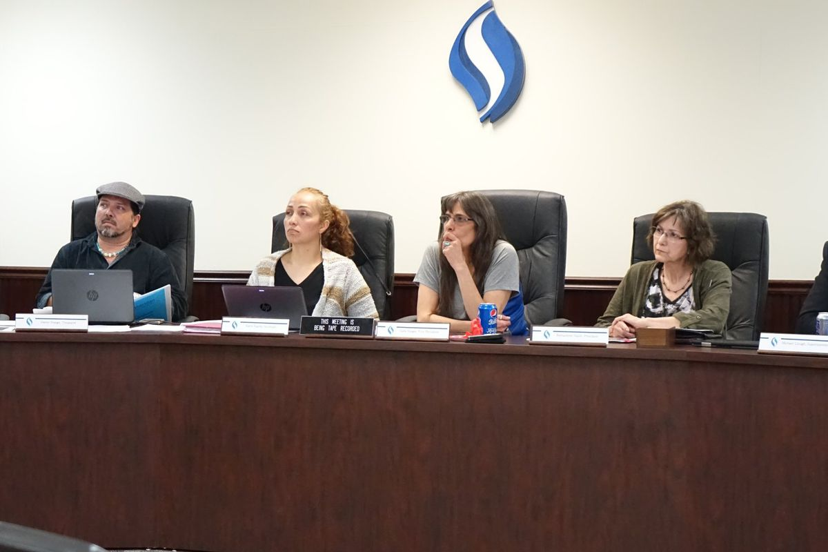 Sheridan school board members and Superintendent Michael Clough, right, at earlier meeting in 2018. (Photo courtesy of Sheridan School District)
