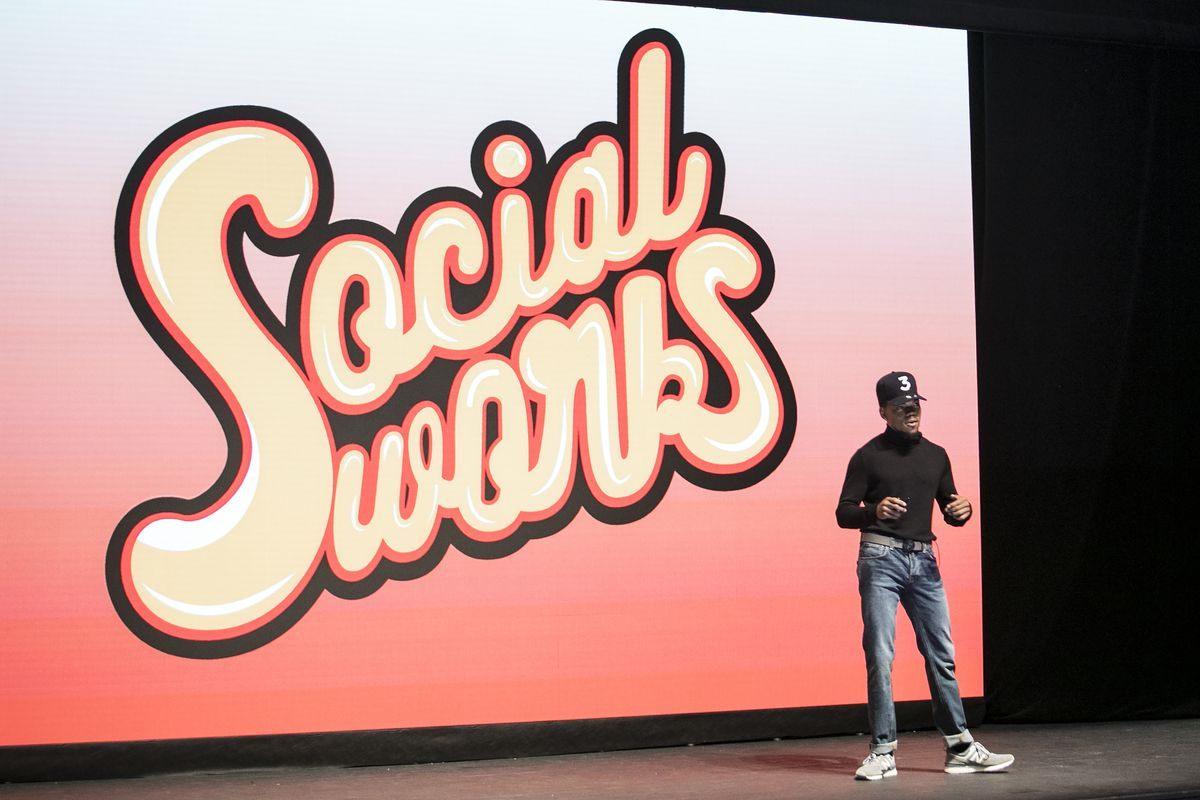 Chance The Rapper announces a $2.2 million donation from SocialWorks to Chicago Public Schools during a presentation at Harold Washington Cultural Center in the Bronzeville neighborhood, Friday, Sept. 1, 2017.   Ashlee Rezin/Sun-Times