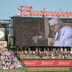 5:12 p.m. The seventh inning stretch, on the right field video board -