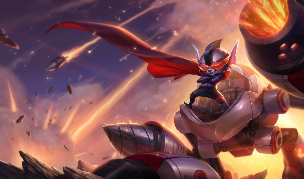 Super Galaxy Rumble poses heroically on his mech while rockets fire off in the background