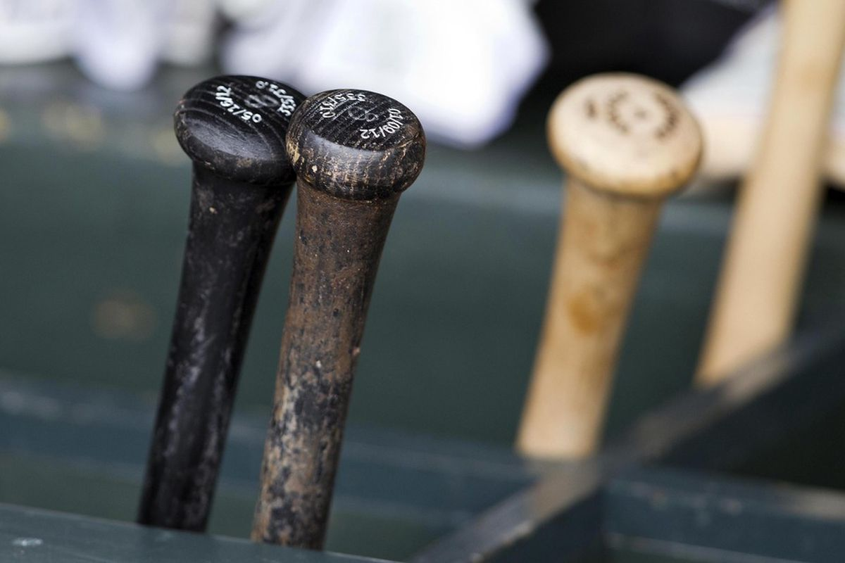 May 29, 2012; Minneapolis, MN, USA: A view of bats in the Oakland Athletics dug out before a game against the Minnesota Twins at Target Field. Mandatory Credit: Jesse Johnson-US PRESSWIRE