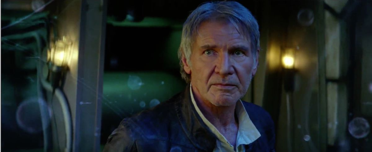old han solo in Star Wars: The Force Awakens