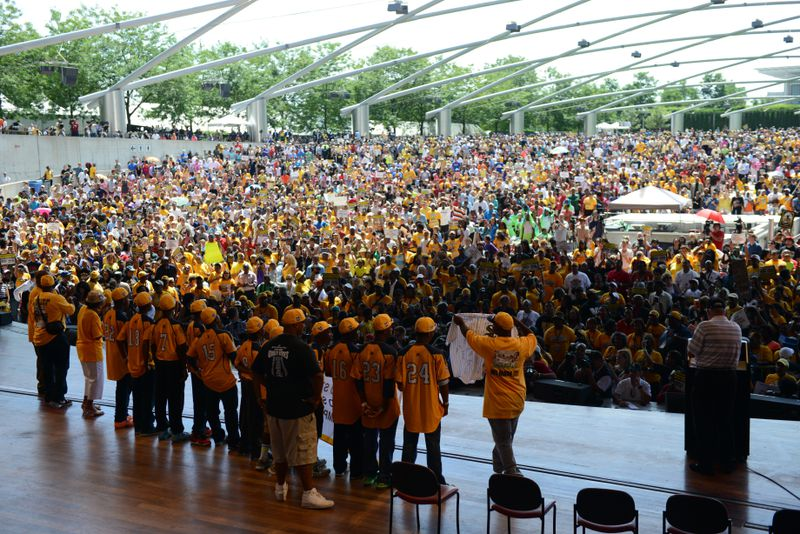 Jackie Robinson West Little League Team rally in Millennium Park at the Jay Pritzker Pavilion on Wednesday, August 27, 2014.
