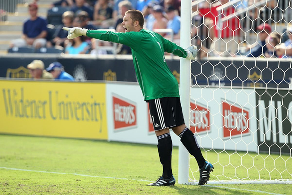 CHESTER PA - JULY 31: Goal keeper Chris Seitz #1 of the Philadelphia Union shout instructions to teammates during the game against the New England Revolution at PPL Park on July 31 2010 in Chester Pennsylvania. (Photo by Hunter Martin/Getty Images)