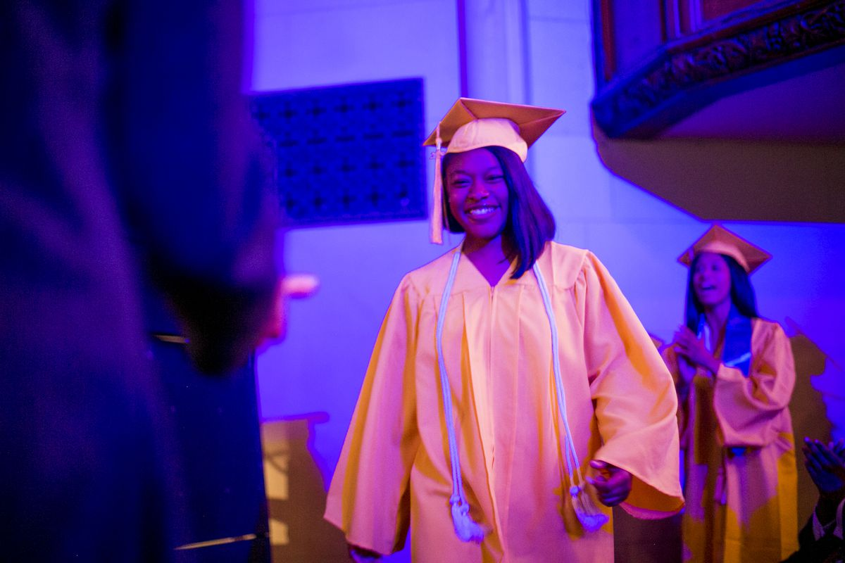 Kashia Perkins, a Michigan State University freshman, shown during her June graduation from the Jalen Rose Leadership Academy