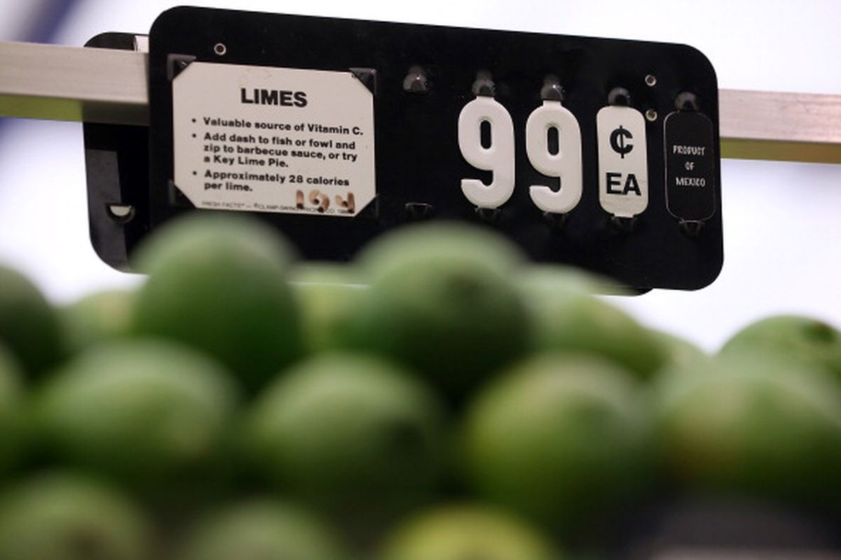 imes priced at $.99 each are displayed at Cal-Mart Grocery on March 27, 2014 in San Francisco, California. Food prices are on the rise and expected to keep edging up throughout the year as the drought and other factors have impacted the availability