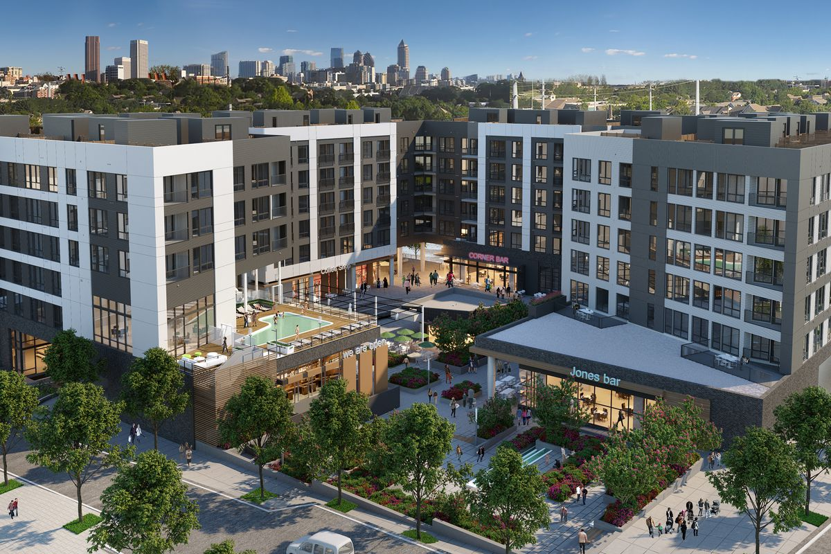 The project's open-air retail plaza, with a creative reimagining of Midtown's skyline beyond.