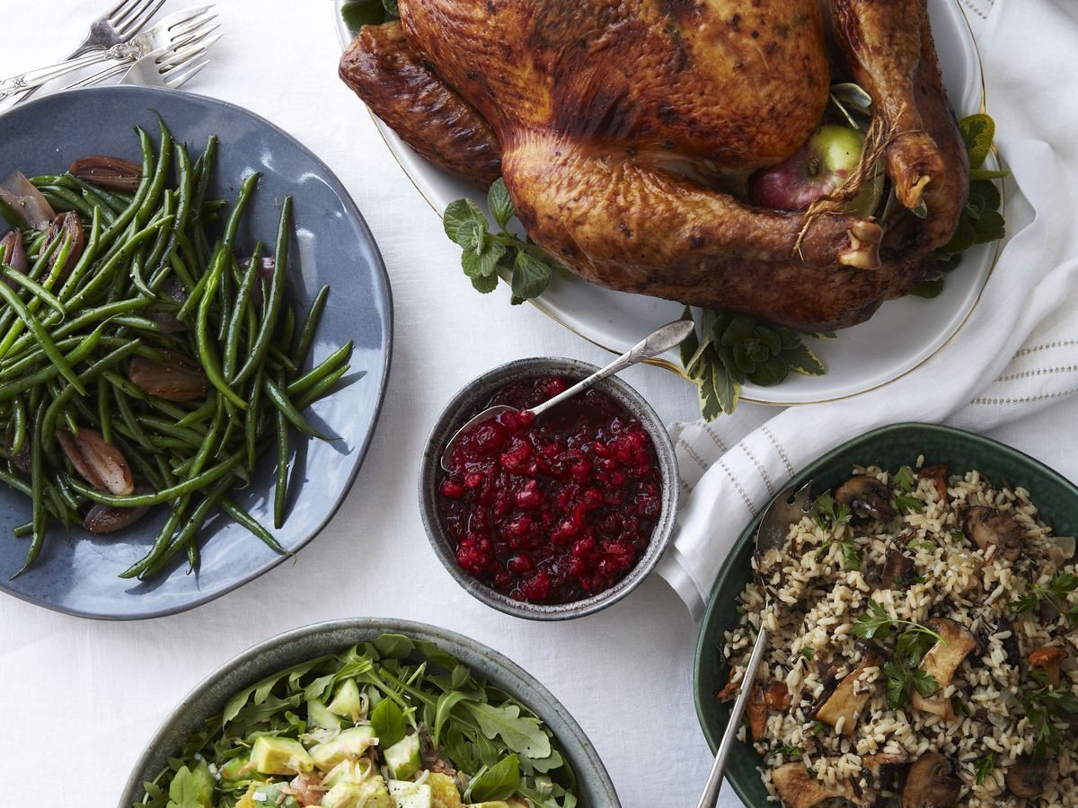 roasted turkey and side dishes