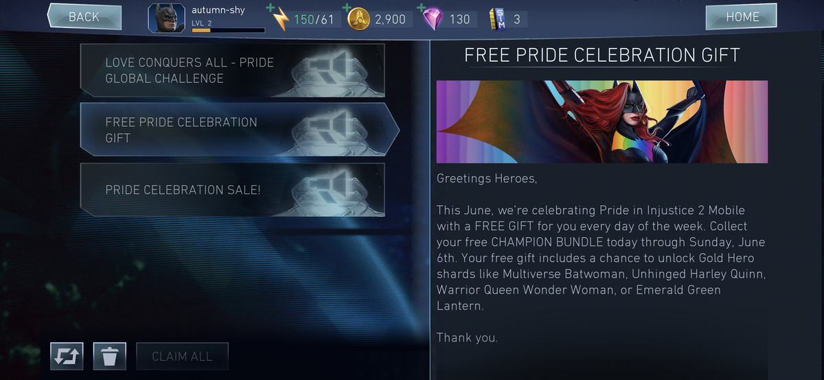 a screenshot from injustice 2 mobile describing the free pride rewards