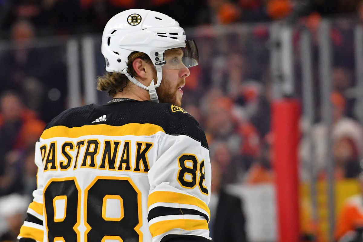 Boston Bruins right wing David Pastrnak against the Philadelphia Flyers during the first period at Wells Fargo Center.