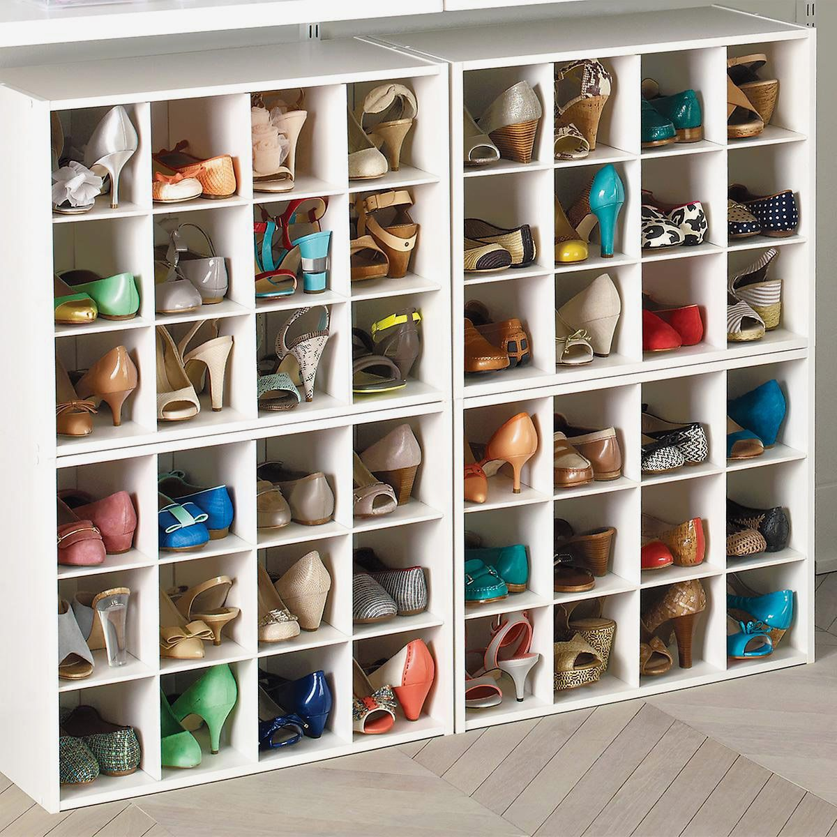 Shoe cubby system.