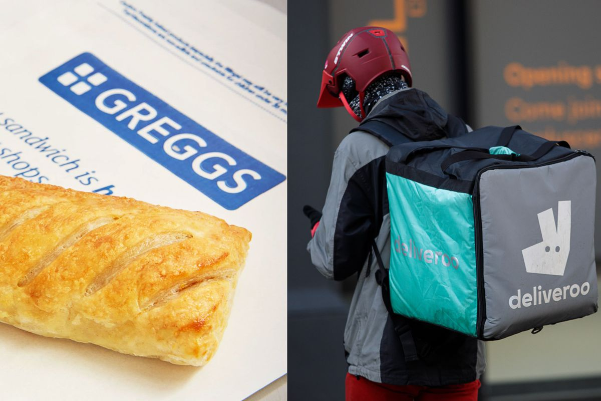 Greggs will partner with Deliveroo to deliver sausage rolls and steak bakes from the high street bakery chain