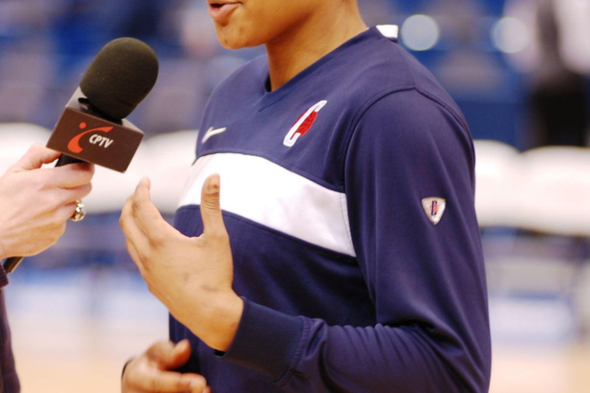Maya Moore Will Face Many More Microphones This Summer (photo by Roger Beaupre)