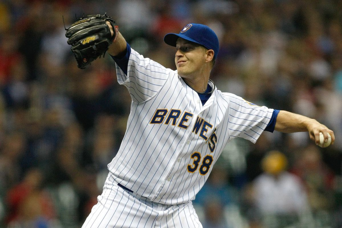 MILWAUKEE, WI - JUNE 10: Chris Narveson #38 of the Milwaukee Brewers pitches against the St. Louis Cardinals at Miller Park on June 10, 2011 in Milwaukee, Wisconsin. (Photo by Scott Boehm/Getty Images)