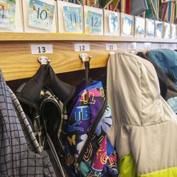 Coats hang on hooks in Stacey Johnsen's second-grade class at Daybreak Elementary School on Monday, Feb. 25, 2013. HB318, sponsored by Rep. Becky Edwards, R-North Salt Lake, would set class-size caps at 20 students for kindergarten, 22 for first and second grades, and 24 for the third grade.