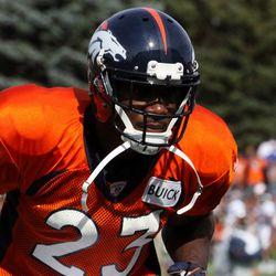 Denver Broncos DB Quentin Jammer focused.