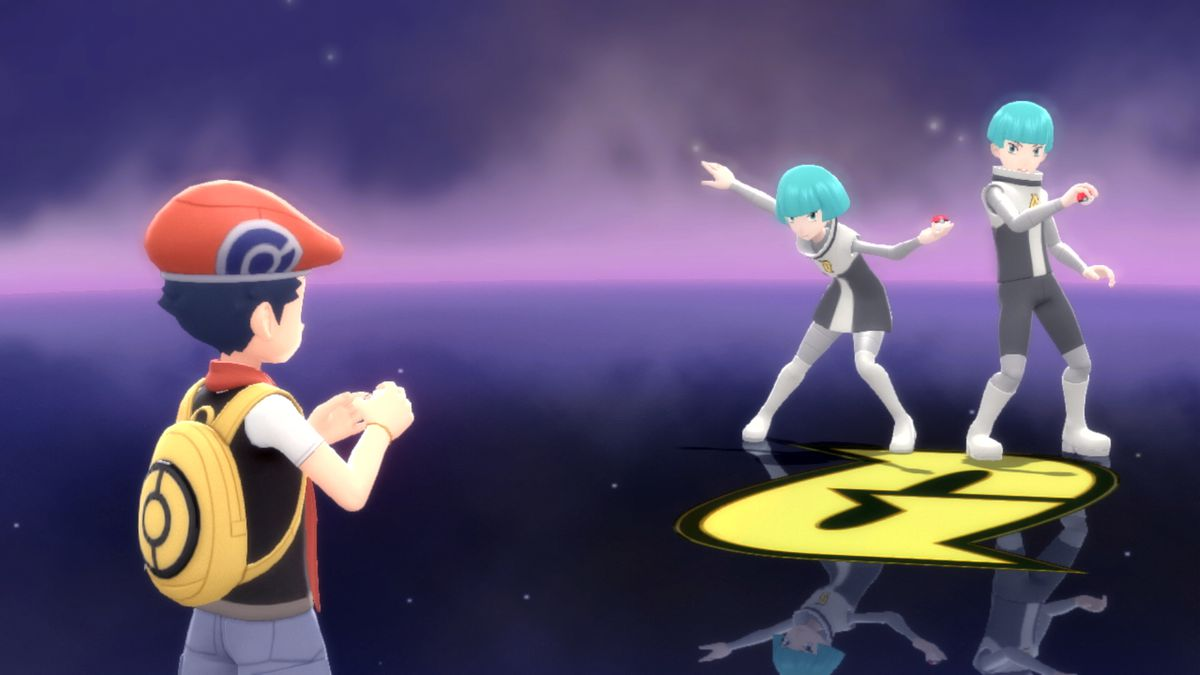 A Pokémon trainer stares at two similar-looking characters in Pokémon Brilliant Diamond and Shining Pearl