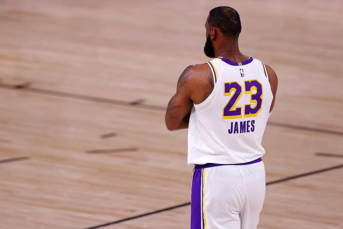 LeBron James of the Los Angeles Lakers during the first quarter against the Denver Nuggets in Game Three of the Western Conference Finals during the 2020 NBA Playoffs at AdventHealth Arena at the ESPN Wide World Of Sports Complex on September 22, 2020 in Lake Buena Vista, Florida.