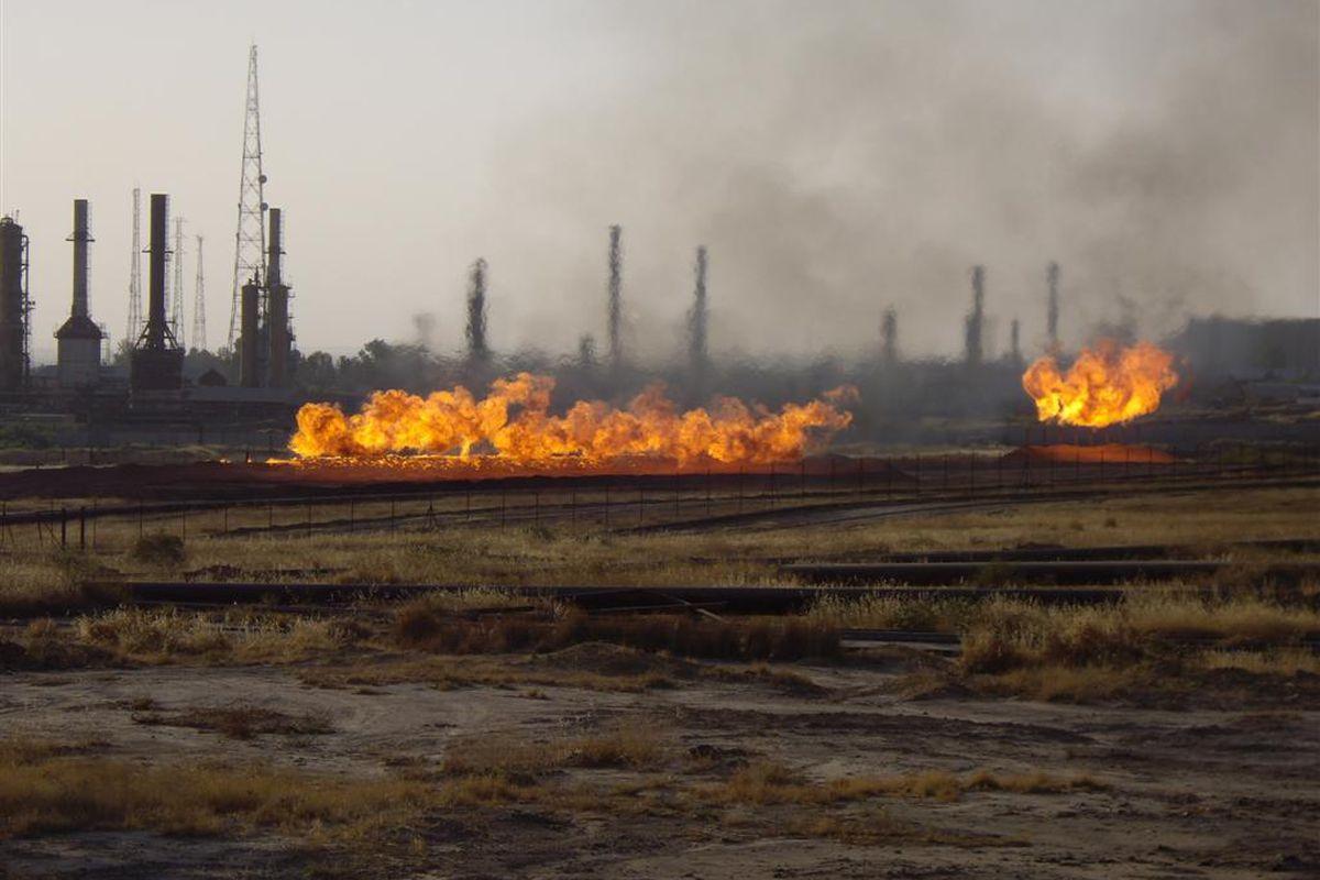 Oil fields on fire in Kirkuk, Iraq, September 13, 2007.