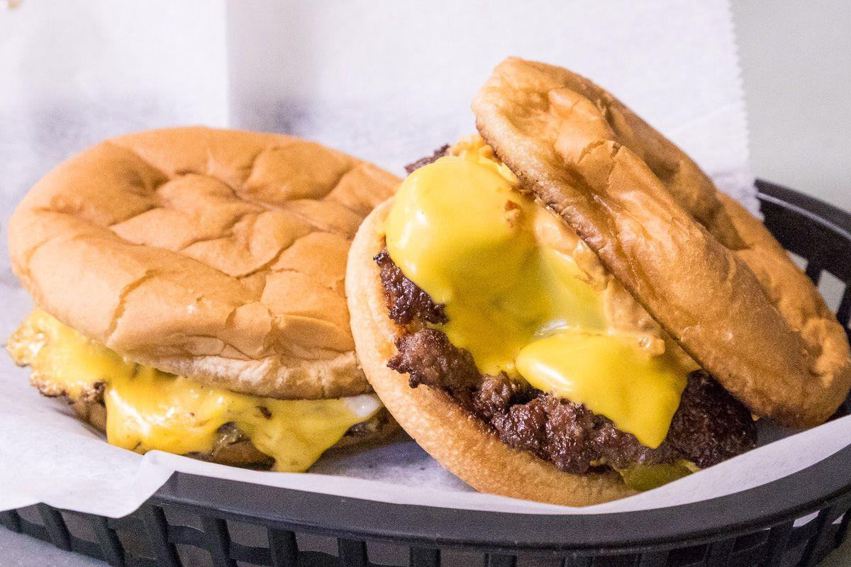 The Dirty Flat Top Cheeseburger and the Hamburgers at The Friendly