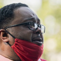Jacob Blake Sr., the father of Jacob Blake, speaks during a press conference Tuesday afternoon, Aug. 25, 2020. Police shot Blake at least seven times in the back Sunday as he was breaking up a fight, according to his attorneys.