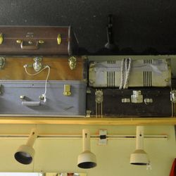 Suitcase props sit on the shelf backstage at the Valley Center Playhouse in Lindon on Thursday, Dec. 12, 2013. Owners Keith and Jody Renstrom are closing the playhouse on Dec. 21 after 38 years of community theater.