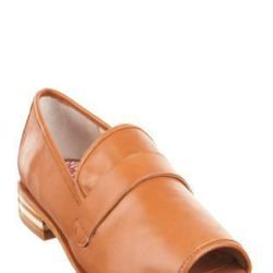 """Brennan suggests Kate wear the tan 80%20 """"Edie"""" peep-toe loafer ($198) with trousers."""