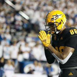 Arizona State tight end Curtis Hodges (86) celebrates a touchdown during an NCAA college football game against BYU at LaVell Edwards Stadium in Provo on Saturday, Sept. 18, 2021.