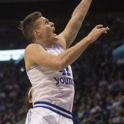 Brigham Young Cougars forward Luke Worthington (41) puts up a shot during BYU's 75-73 overtime win against the San Francisco Dons at the Marriott Center in Provo on Saturday, Feb. 10, 2018.