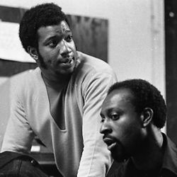 Fred Hampton and R. Chaka Walls, deputy minister of information for the Black Panther Party, Ill, discuss the fate of Bobby Seale in November 1969.
