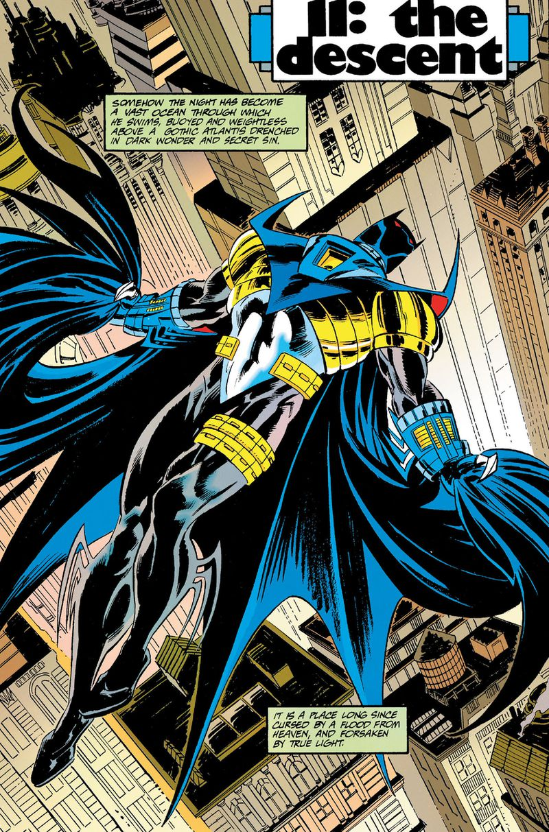 Jean Paul Valley as Batman leaps through the air in his armored Bat-suit, featuring sharp and massive pauldrons, bladed gauntlets, and a flowing cape, in Batman #500, DC Comics (1993).