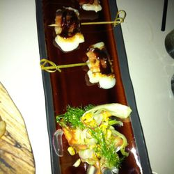 Bacon wrapped mocchi balls.  GM liked these okay.