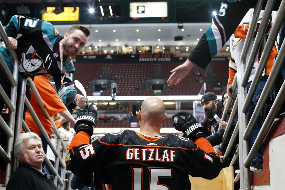 Ryan Getzlaf #15 of the Anaheim Ducks takes the ice for warm-ups prior to the game against the Florida Panthers at Honda Center on February 19, 2020 in Anaheim, California.