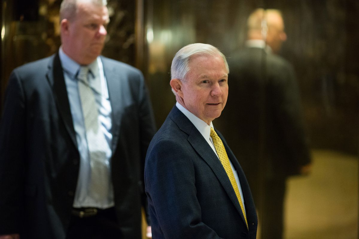 Sen. Jeff Sessions meets with President-elect Donald Trump.