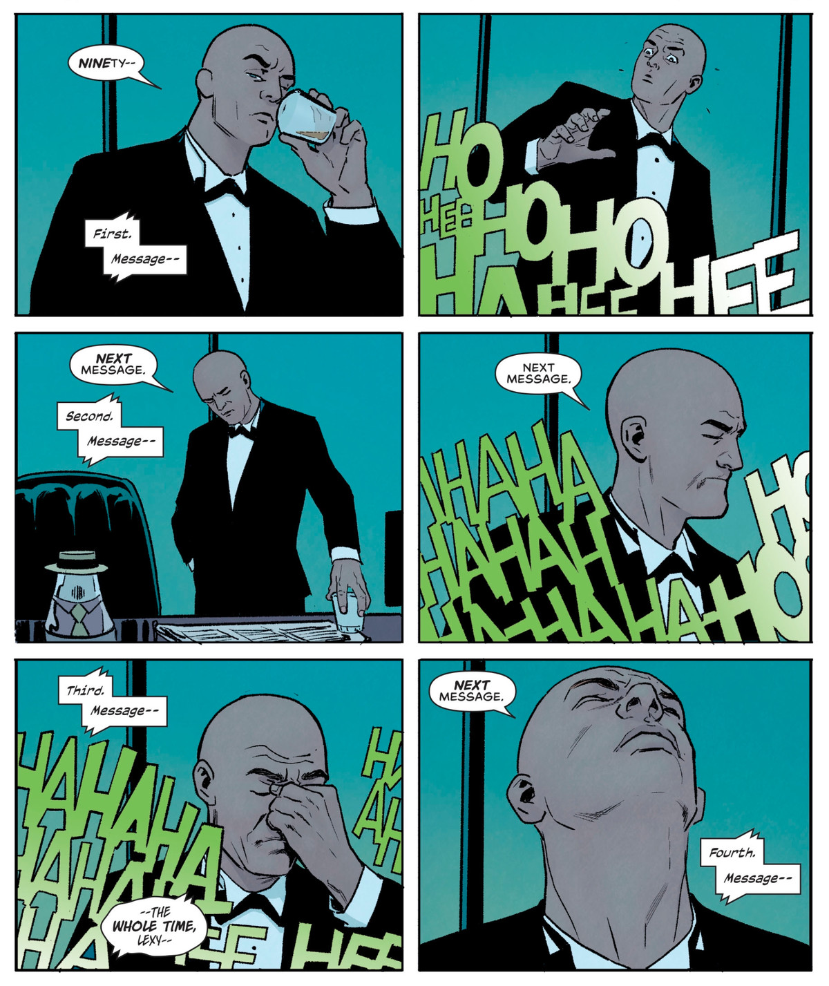 Lex Luthor checks his 90 voicemails, but they're all the Joker laughing at him after finding out that Clark Kent was Superman all along, in Superman: Villains #1, DC Comics (2020).