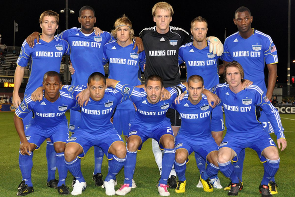 KANSAS CITY KS - OCTOBER 23:  The Kansas City Wizards pose for a team photo before a match against the San Jose Earthquakes at Community America Ballpark in Kansas City Kansas on October 23 2010.  (Photo by Tim Umphrey/Getty Images)