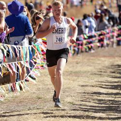 Bryar Meccariello of Emery takes third place in the 3A boys state cross-country championship race at Soldier Hollow in Midway on Thursday, Oct. 22, 2020.