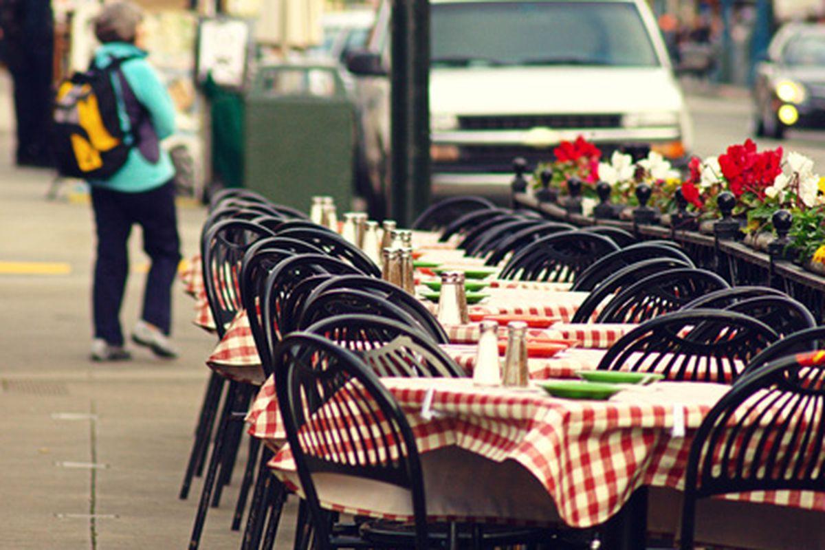 Tables at Fisherman's Wharf.