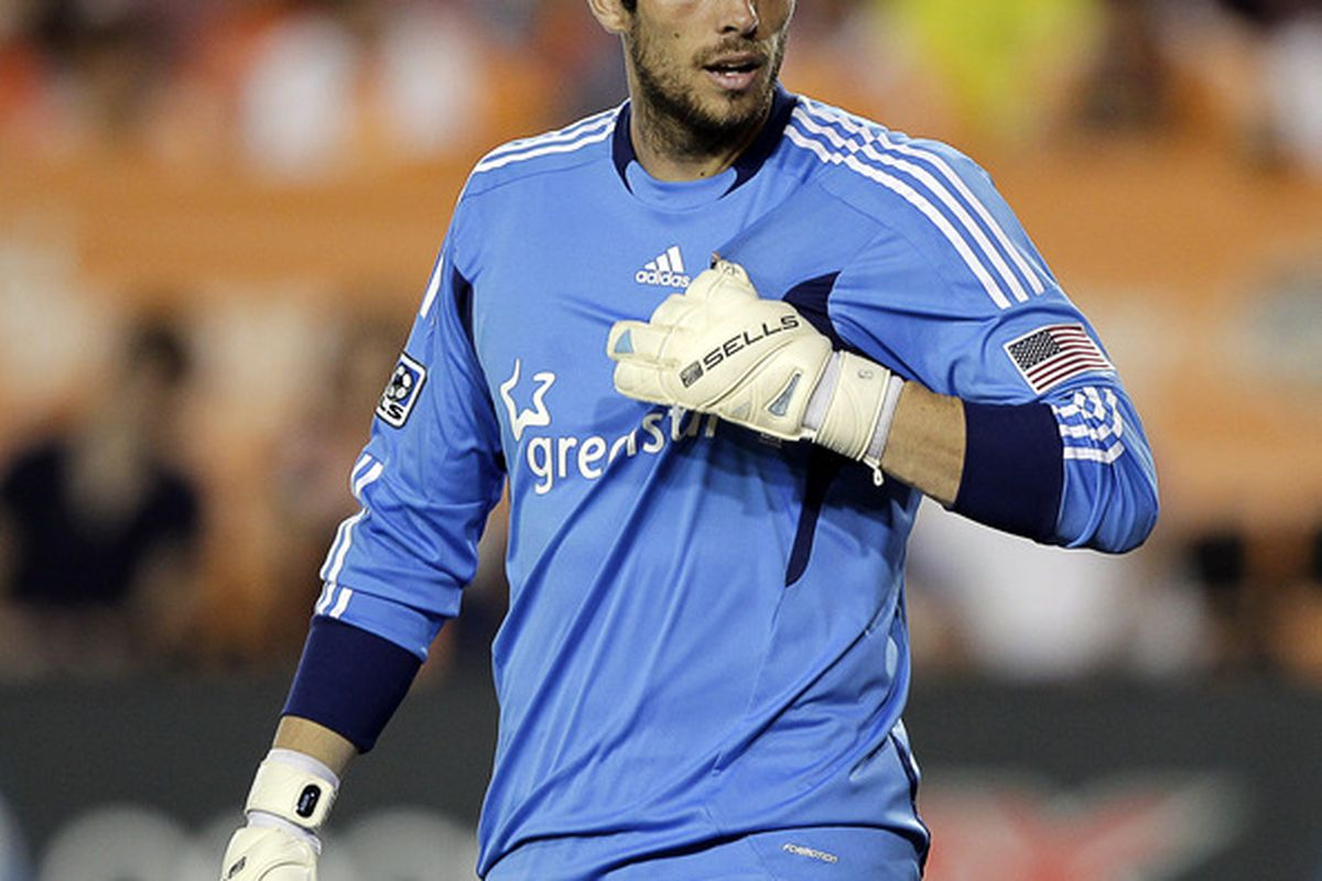 HOUSTON - OCTOBER 23:  Goalkeeper Tally Hall #1 of the Houston Dynamo looks on during second half action against the Los Angeles Galaxy  at Robertson Stadium on October 23, 2011 in Houston, Texas.  (Photo by Bob Levey/Getty Images)